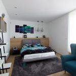 spálňa s dreveným nábytkom a vo farebnosti bielej, modrej a sivej