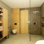 Moderná kúpeľňa s úložnými priestormi a sprchovým kútom