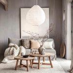Obývačka inšpirovaná japonským interiérom v neutrálnych farbách
