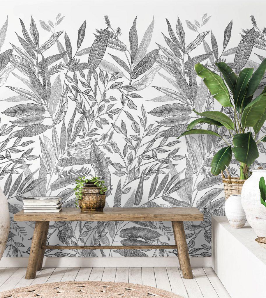 Čierno-biela tapeta s motívom listov