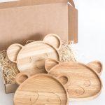 ručne vyrobené drevené misky Panda, Prasiatko a Macko