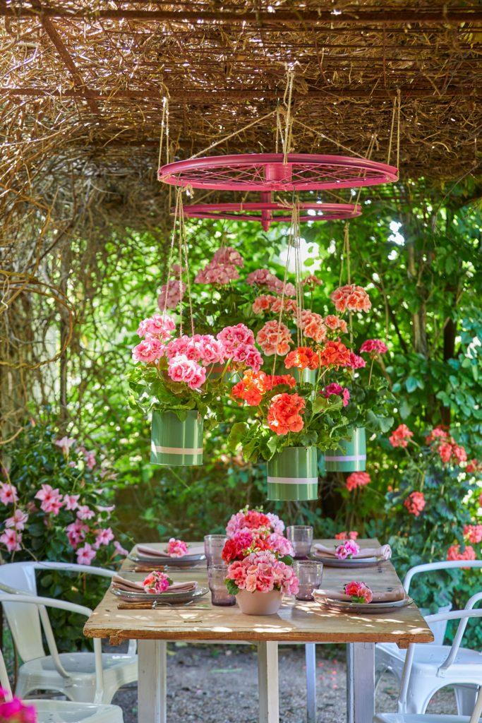 Záhradné stolovanie pod závesným aranžmánom z muškátov v nádobách zavesených zo starých kolies z bicyklov