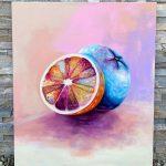 farebná maľba pomarančov s názvom od Patrika Koprivňanského