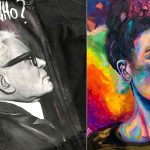 Maľovaný portrét Karla Lagerfelda a Fridy Kahlo od Patrika Koprivňanského