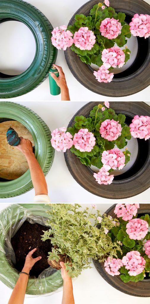 Výroba kvetinového záhonu zasadeného do pneumatiky