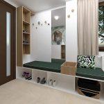 Vizualizácia predsiene v rodinnom dome s lavicou s otvoreným úložným priestorom, zrkadlom a otvorenou poličkou