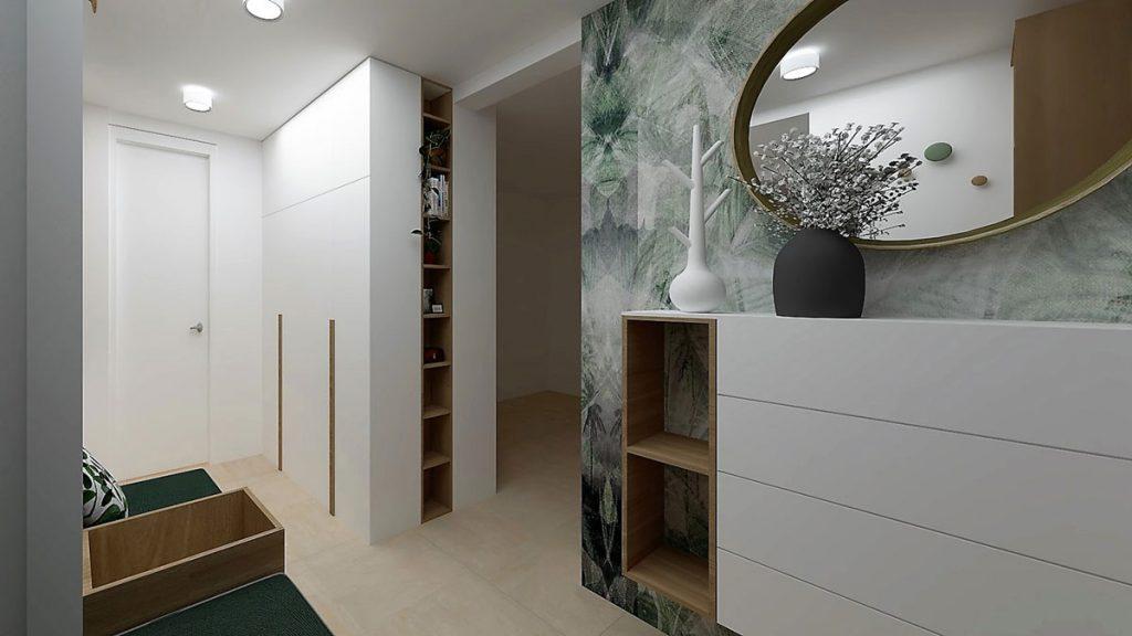 Vizualizácia priestoru predsiene s bielym nábytkom a otvorenými policami