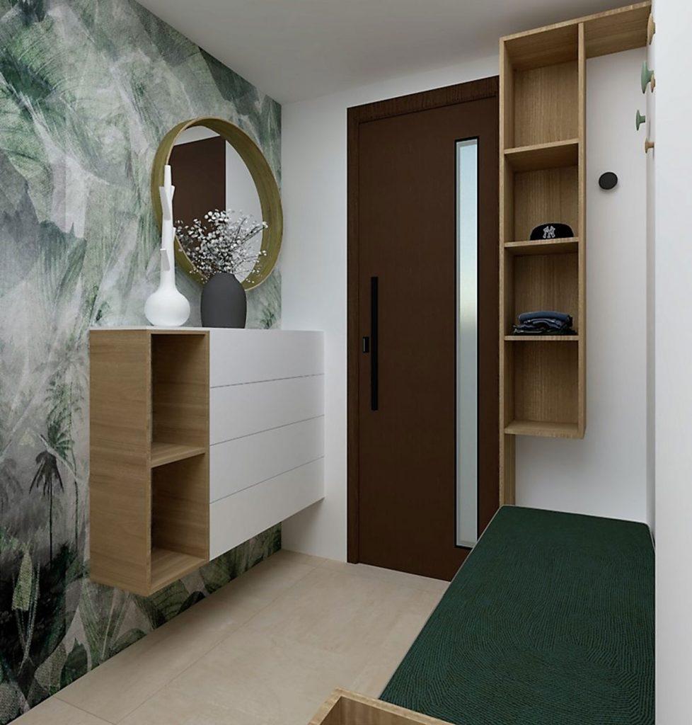 Predsieň s tapetou, otvorenými policami, bielym nábytkom a lavicou na sedenie