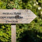 drevená šípka označujúca smej v Interaktívnej a experimentálnej záhrade v Nitre