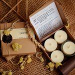 Prírodné sójové sviečky v papierovej krabičke